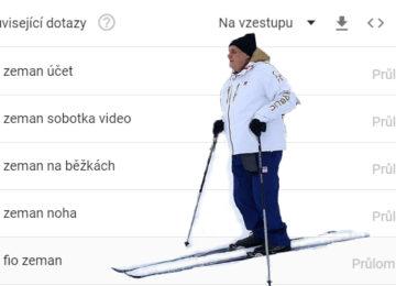 President Milos Zeman skiing on the Internet / Prezident Miloš Zeman