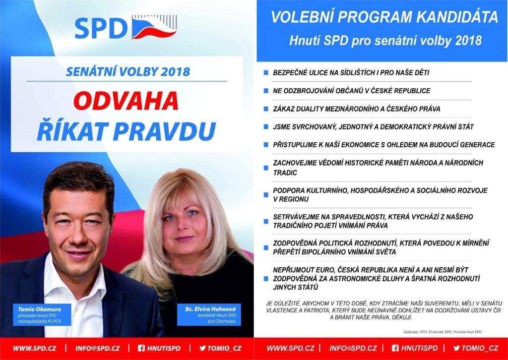 SPD Chomutov Hahnová senátní volby
