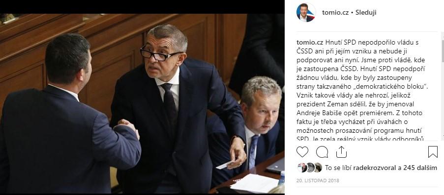 Instagram Tomio Okamura - Babiš