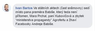 Mimořádná schůze sněmovny, Ivan Bartoš kritizuje Andreje Babiše
