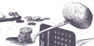 Kalkulačka ležící na Eurech, volební kalkulačka eurovolby 2019